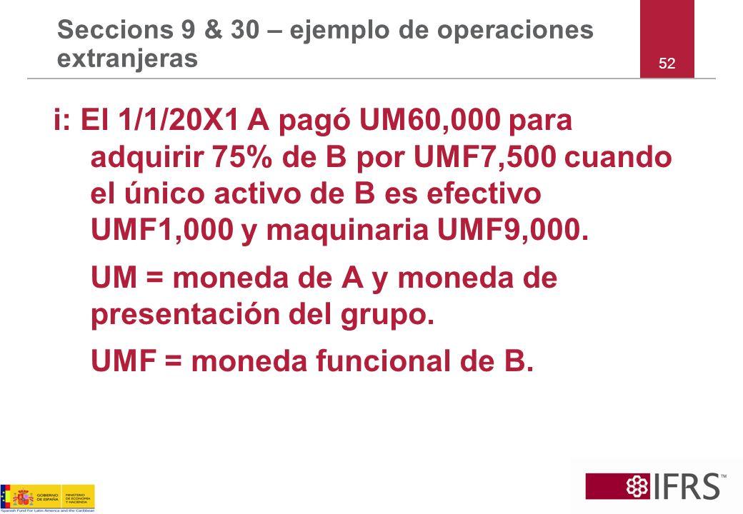 Seccions 9 & 30 – ejemplo de operaciones extranjeras