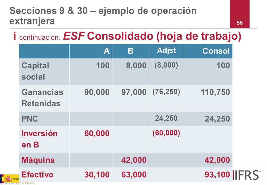 Secciones 9 & 30 – ejemplo de operación extranjera