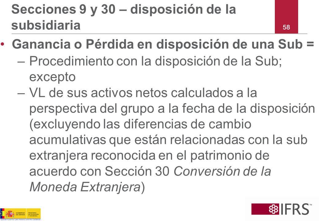 Secciones 9 y 30 – disposición de la subsidiaria