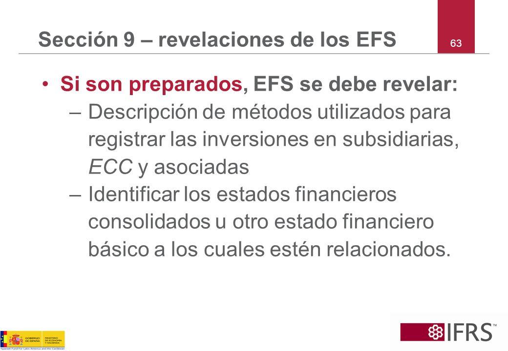 Sección 9 – revelaciones de los EFS
