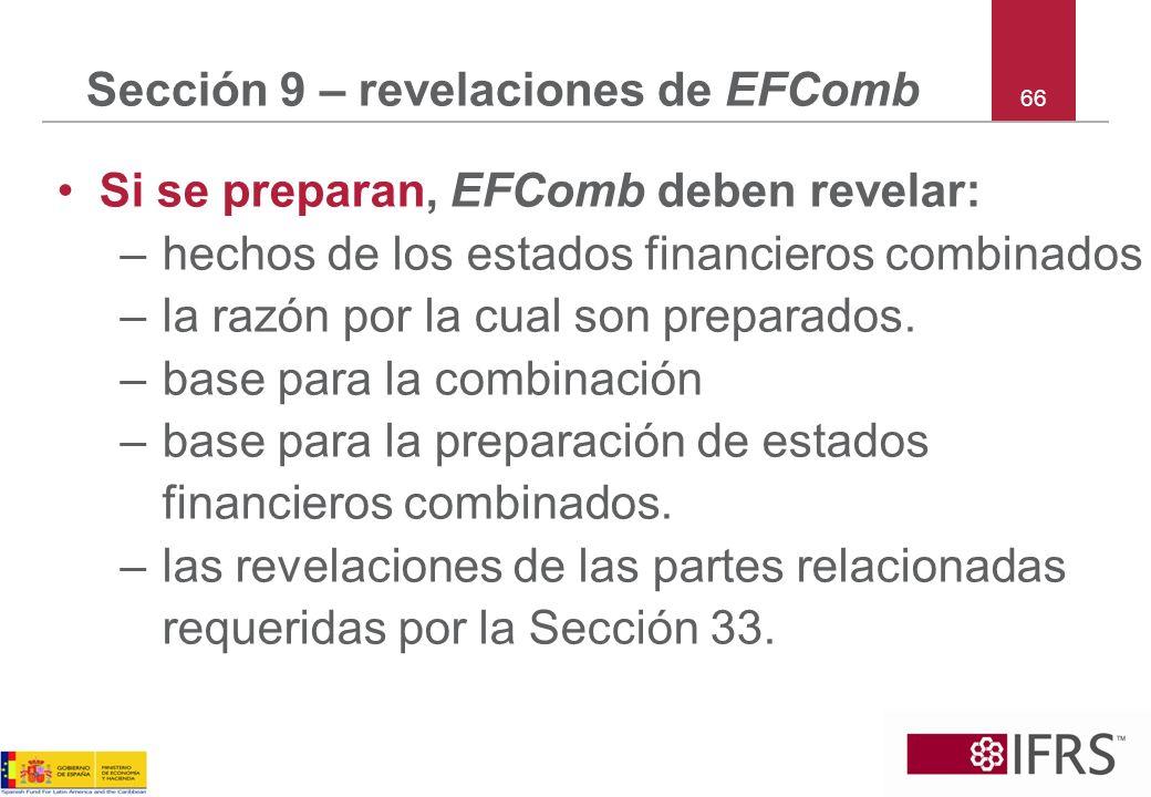 Sección 9 – revelaciones de EFComb
