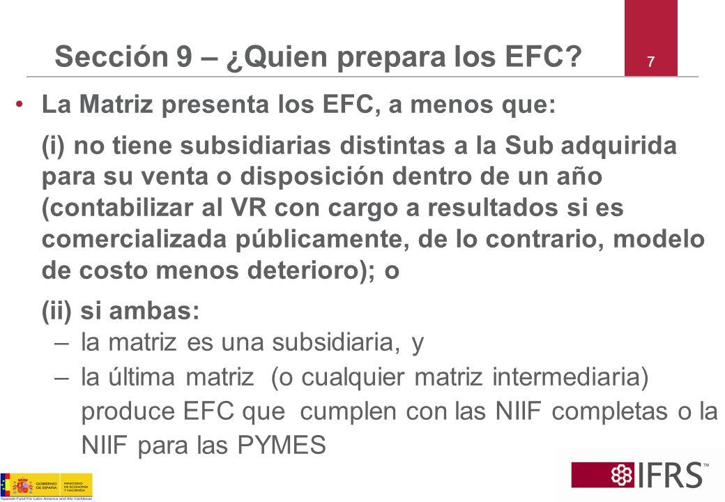 Sección 9 – ¿Quien prepara los EFC