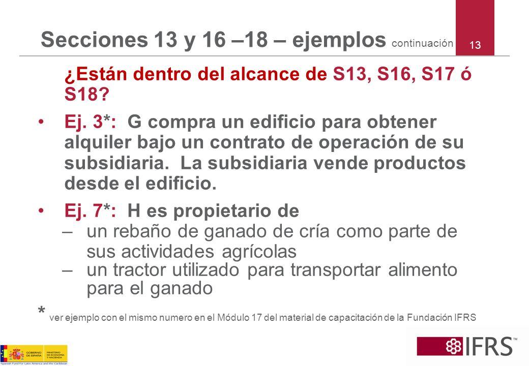 Secciones 13 y 16 –18 – ejemplos continuación