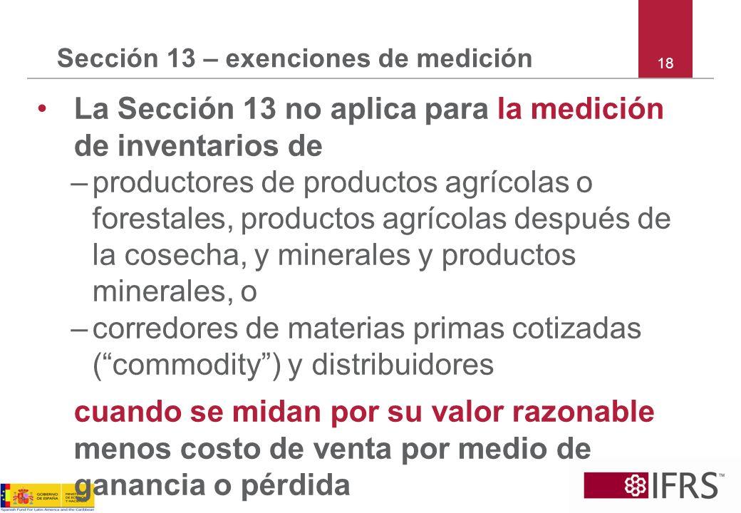 Sección 13 – exenciones de medición
