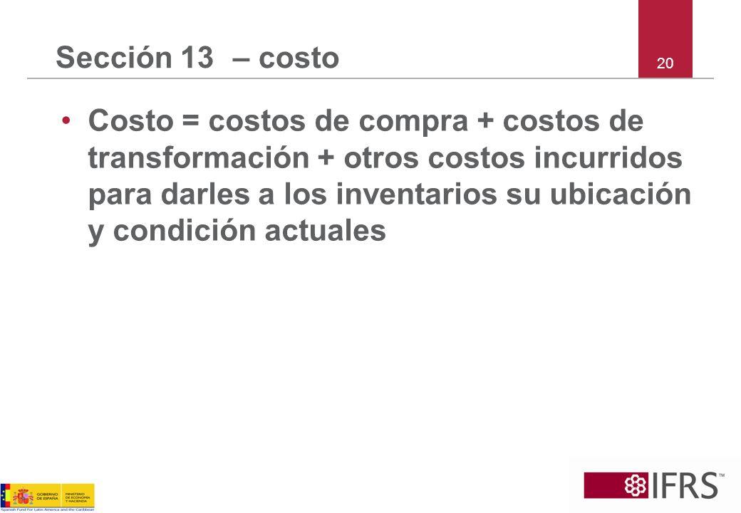 Sección 13 – costo 20.