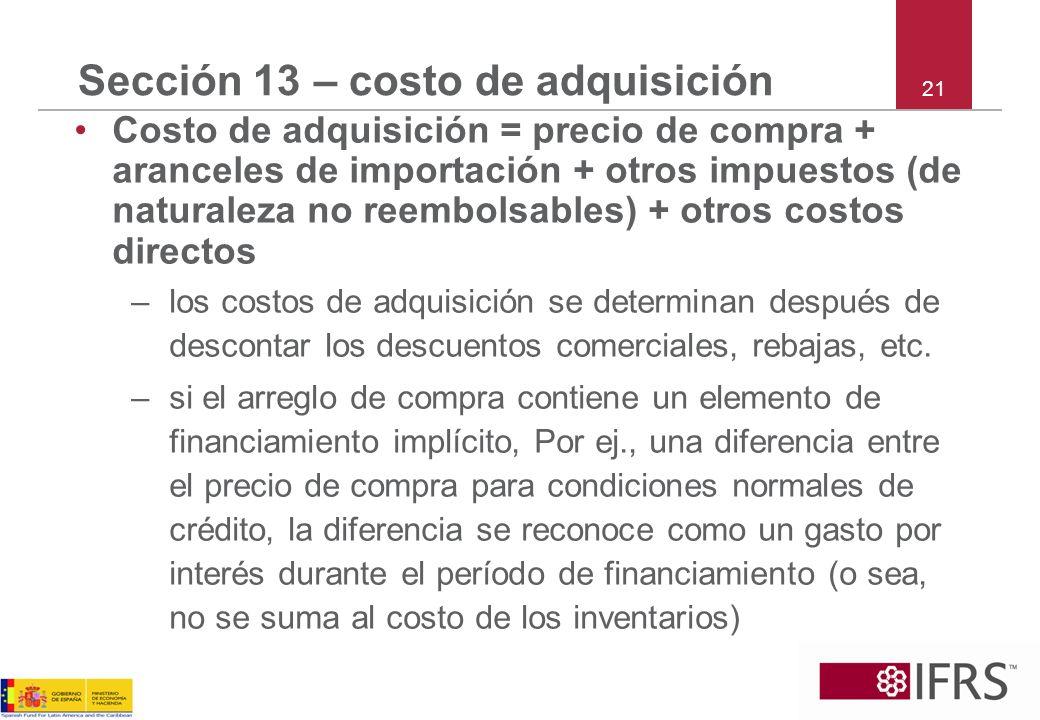 Sección 13 – costo de adquisición