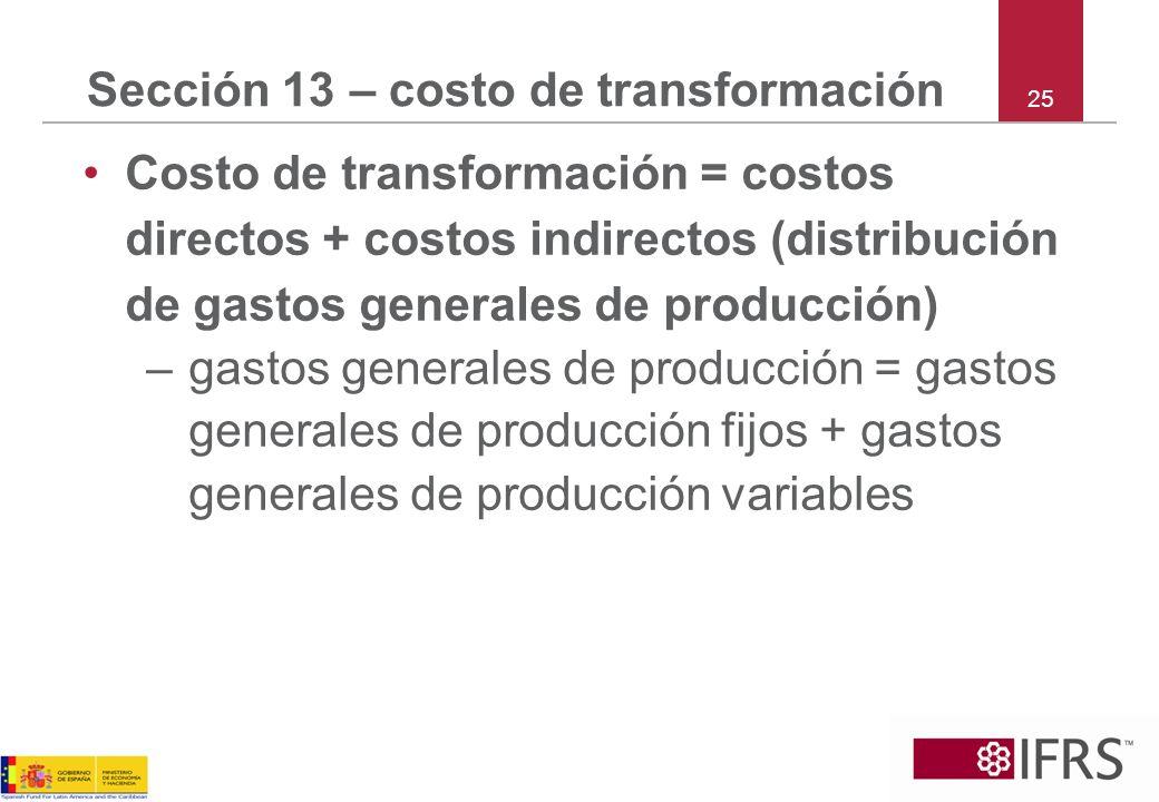 Sección 13 – costo de transformación