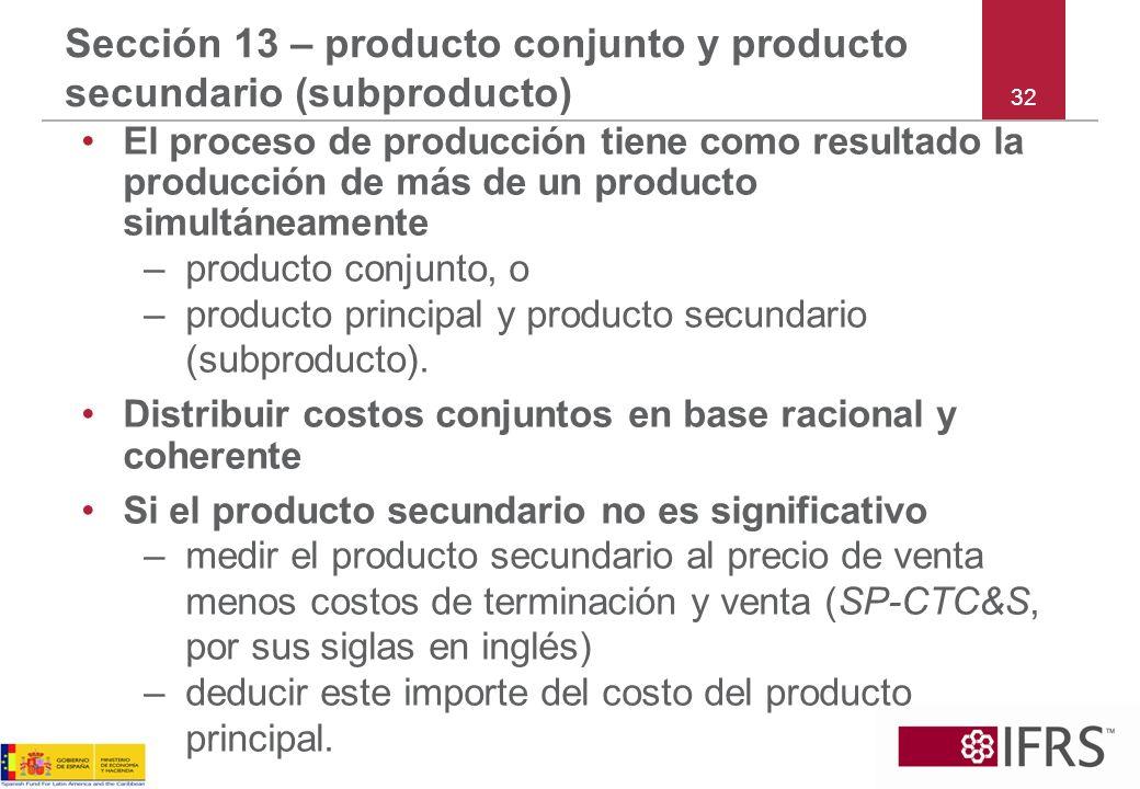 Sección 13 – producto conjunto y producto secundario (subproducto)