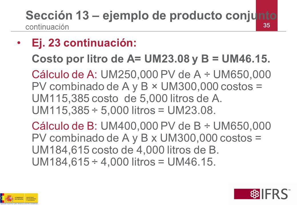 Sección 13 – ejemplo de producto conjunto continuación