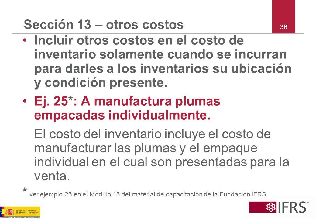 Ej. 25*: A manufactura plumas empacadas individualmente.