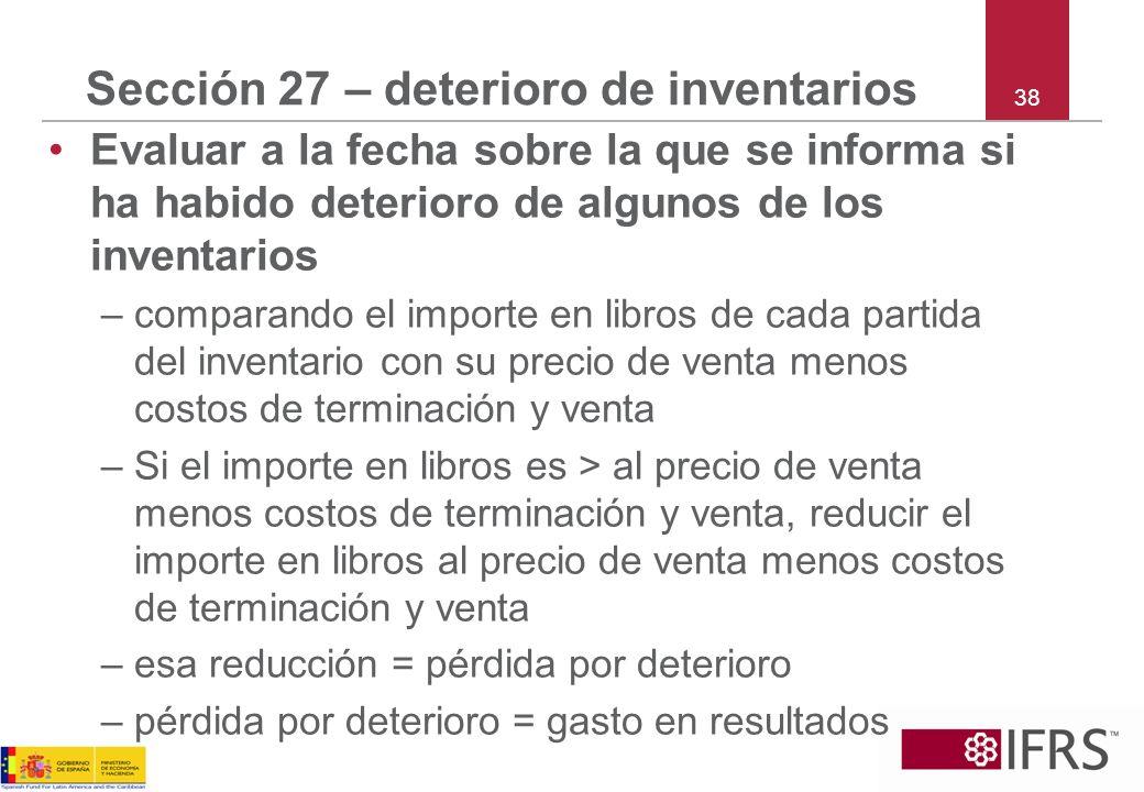 Sección 27 – deterioro de inventarios
