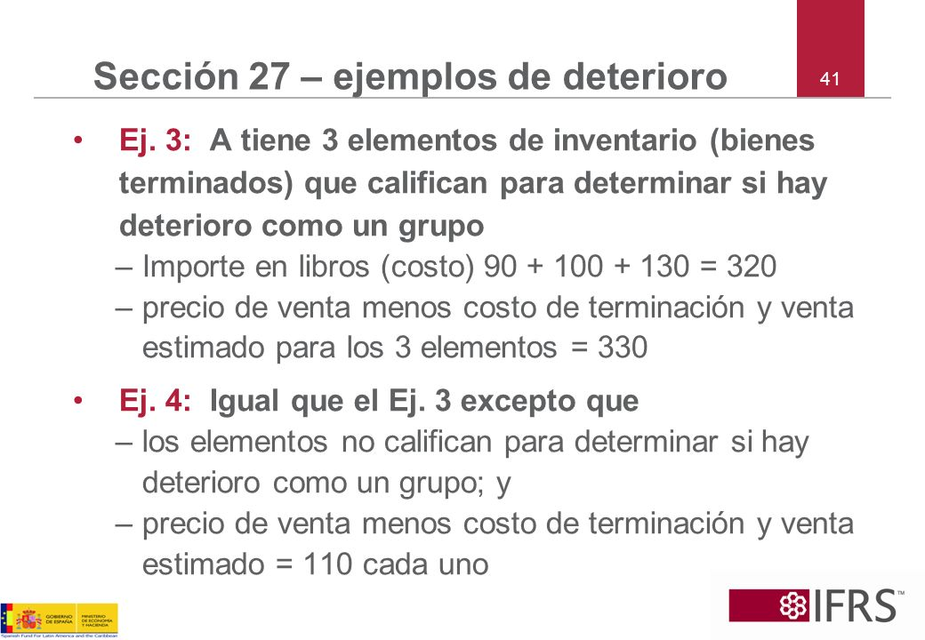 Sección 27 – ejemplos de deterioro