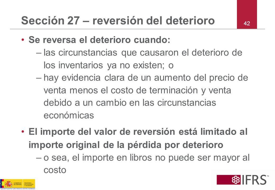 Sección 27 – reversión del deterioro