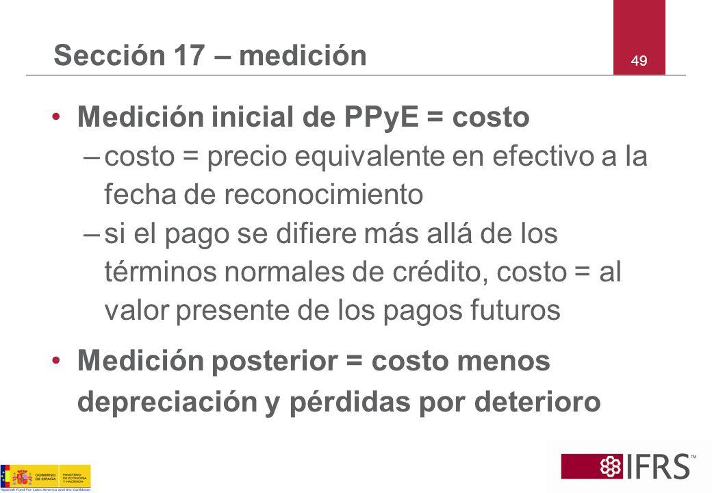 Medición inicial de PPyE = costo