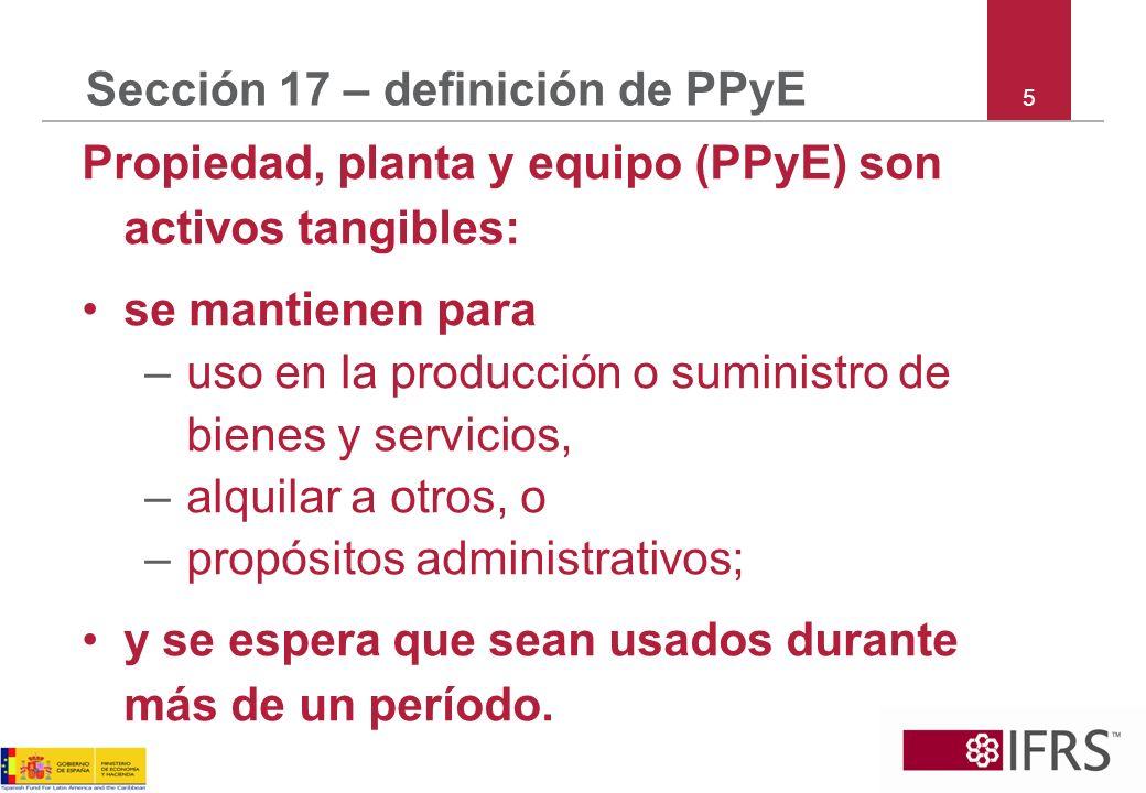 Sección 17 – definición de PPyE