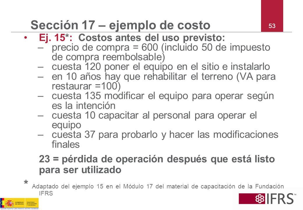 Sección 17 – ejemplo de costo