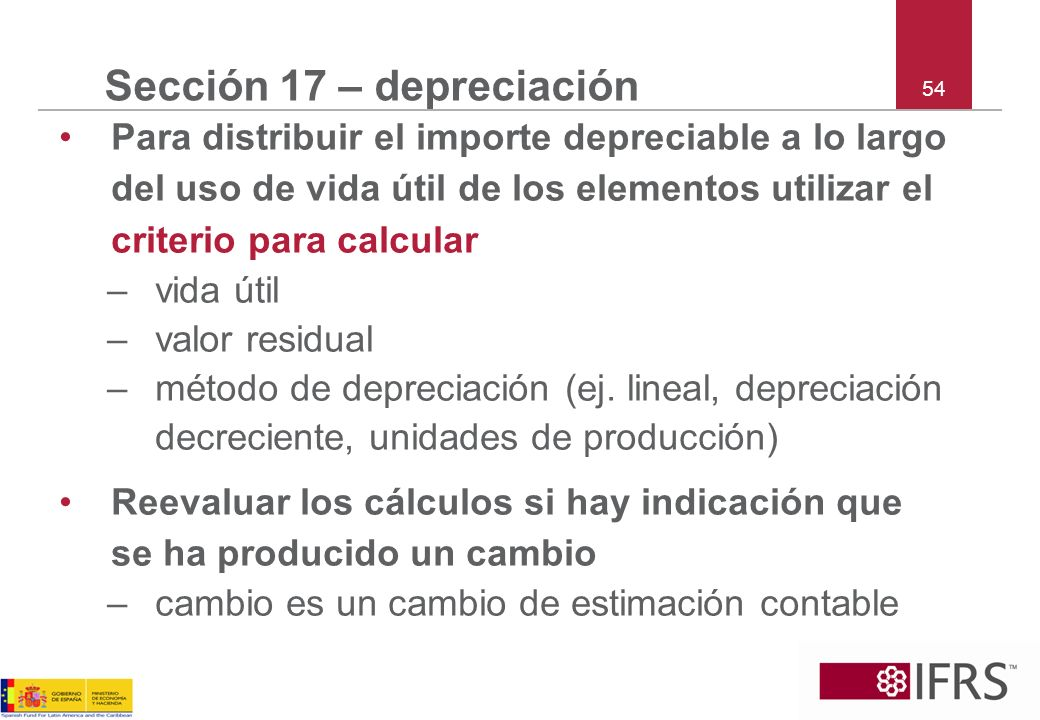 Sección 17 – depreciación