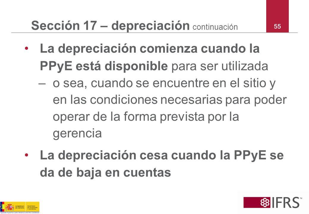 Sección 17 – depreciación continuación