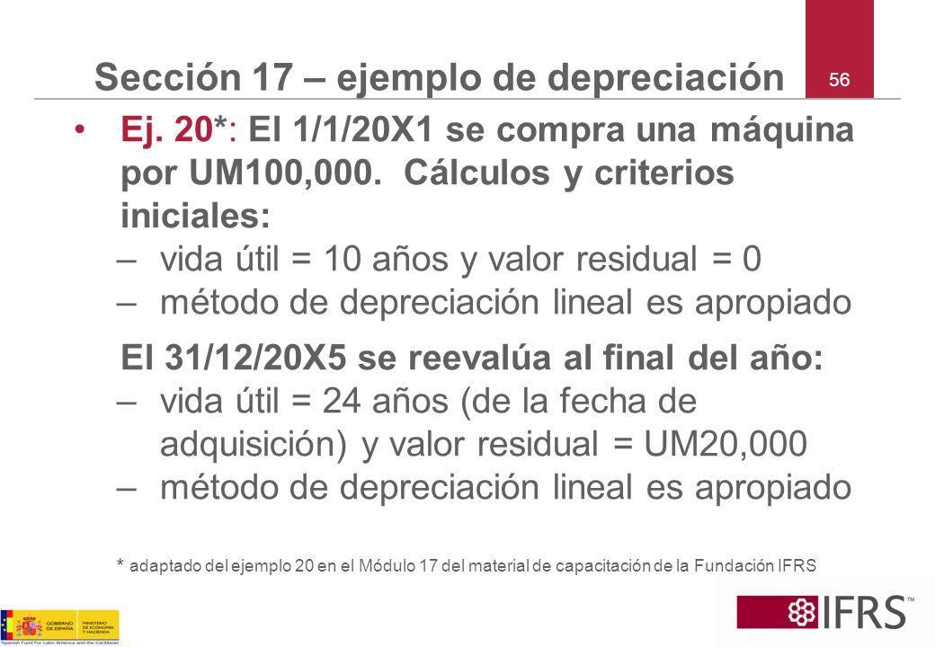 Sección 17 – ejemplo de depreciación