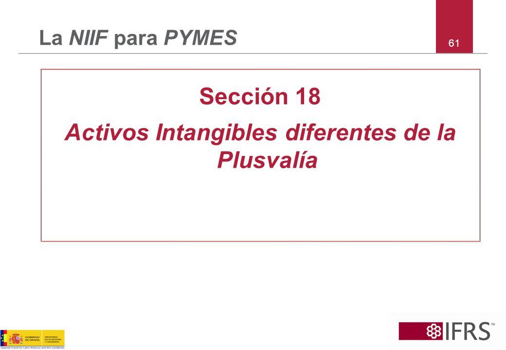 Activos Intangibles diferentes de la Plusvalía