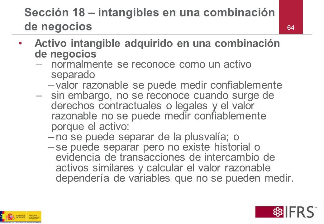 Sección 18 – intangibles en una combinación de negocios