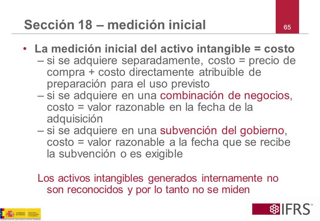 Sección 18 – medición inicial