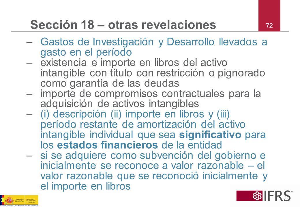 Sección 18 – otras revelaciones