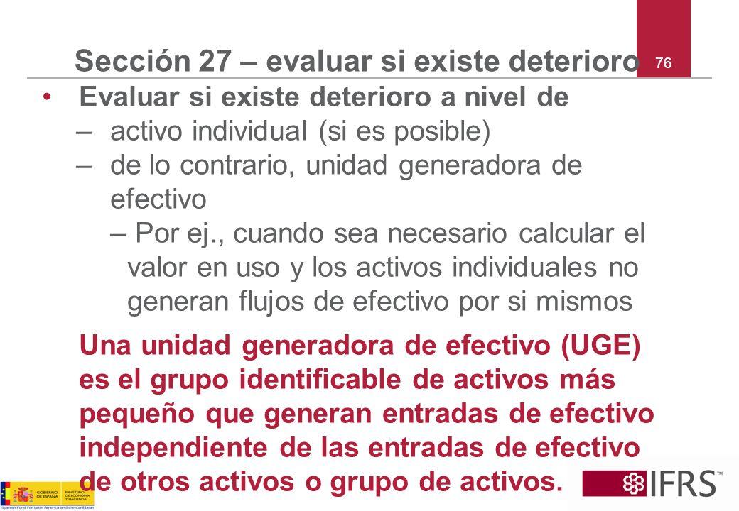 Sección 27 – evaluar si existe deterioro