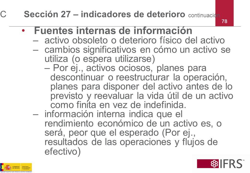 C Sección 27 – indicadores de deterioro continuación