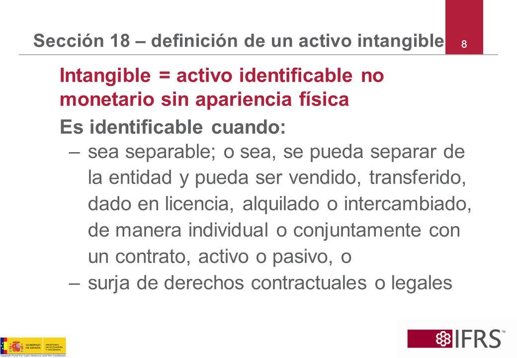 Sección 18 – definición de un activo intangible