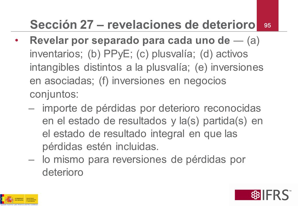 Sección 27 – revelaciones de deterioro