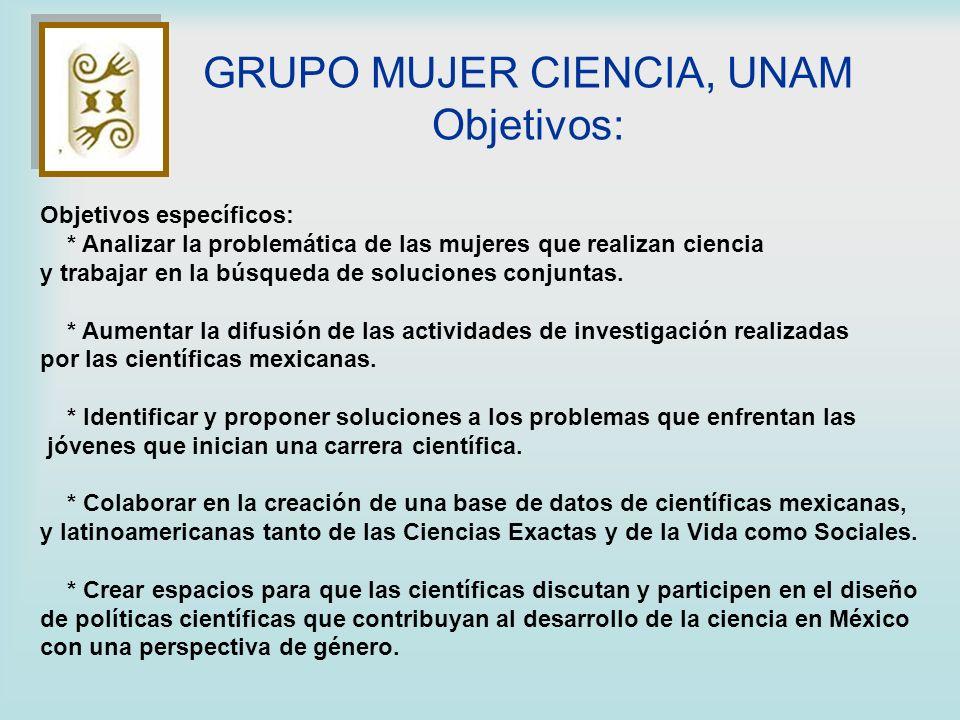 GRUPO MUJER CIENCIA, UNAM Objetivos: