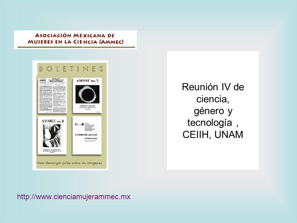 Reunión IV de ciencia, género y tecnología , CEIIH, UNAM