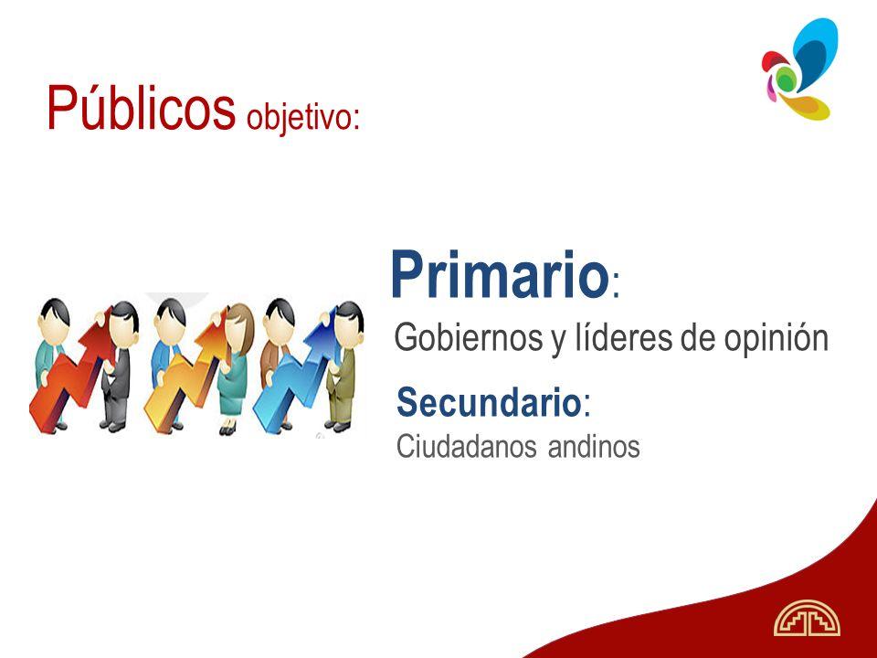 Primario: Públicos objetivo: Secundario: Ciudadanos andinos