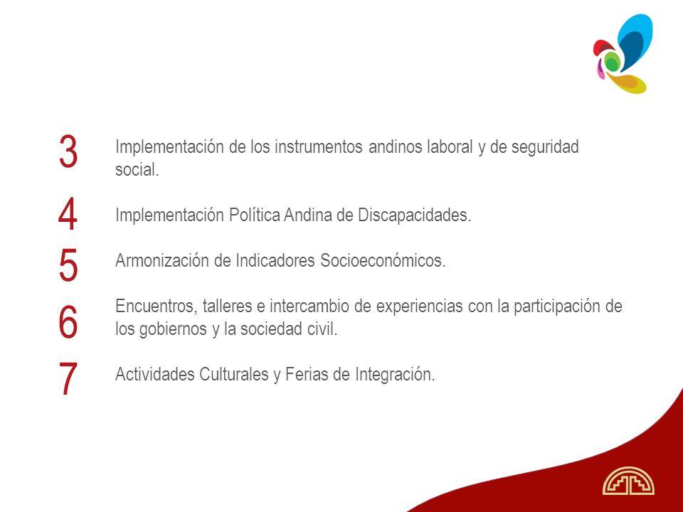 3 Implementación de los instrumentos andinos laboral y de seguridad social. Implementación Política Andina de Discapacidades.