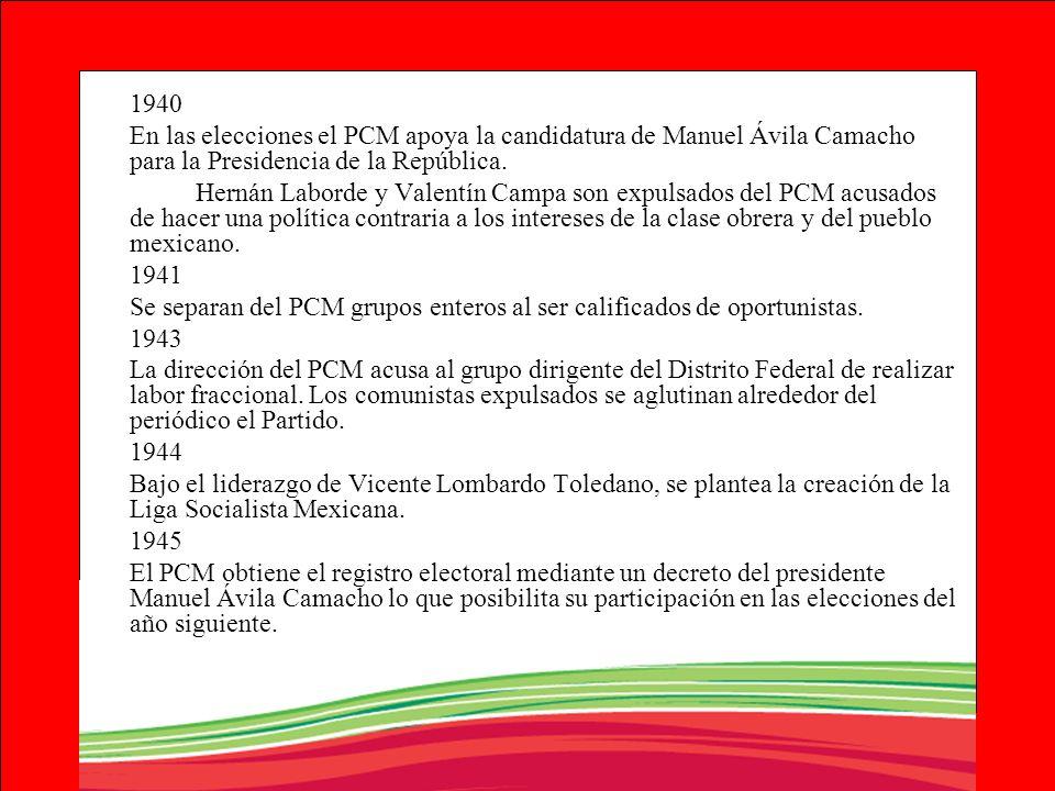 1940En las elecciones el PCM apoya la candidatura de Manuel Ávila Camacho para la Presidencia de la República.