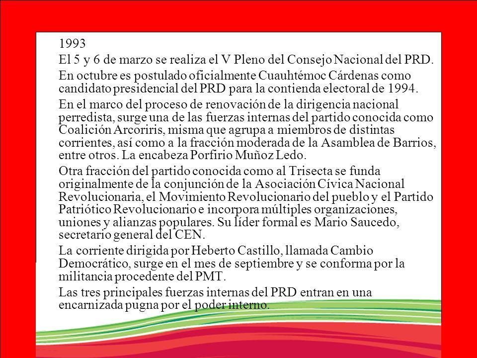 1993El 5 y 6 de marzo se realiza el V Pleno del Consejo Nacional del PRD.