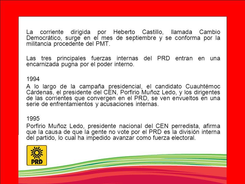 La corriente dirigida por Heberto Castillo, llamada Cambio Democrático, surge en el mes de septiembre y se conforma por la militancia procedente del PMT.