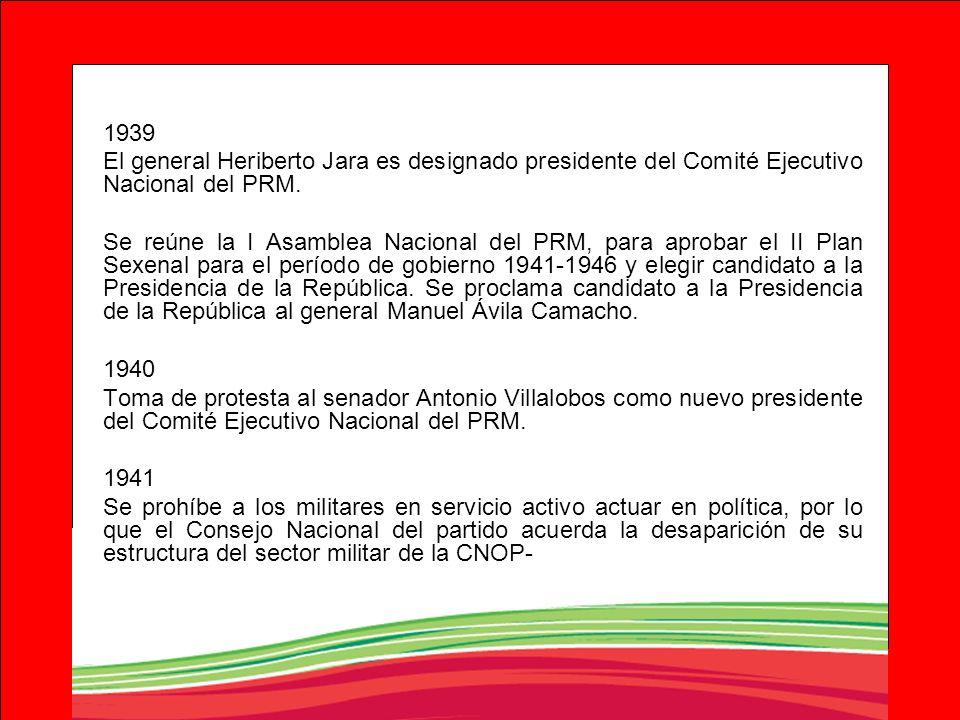 1939 El general Heriberto Jara es designado presidente del Comité Ejecutivo Nacional del PRM.