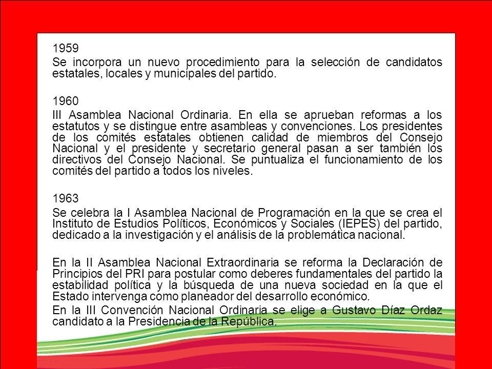 1959Se incorpora un nuevo procedimiento para la selección de candidatos estatales, locales y municipales del partido.