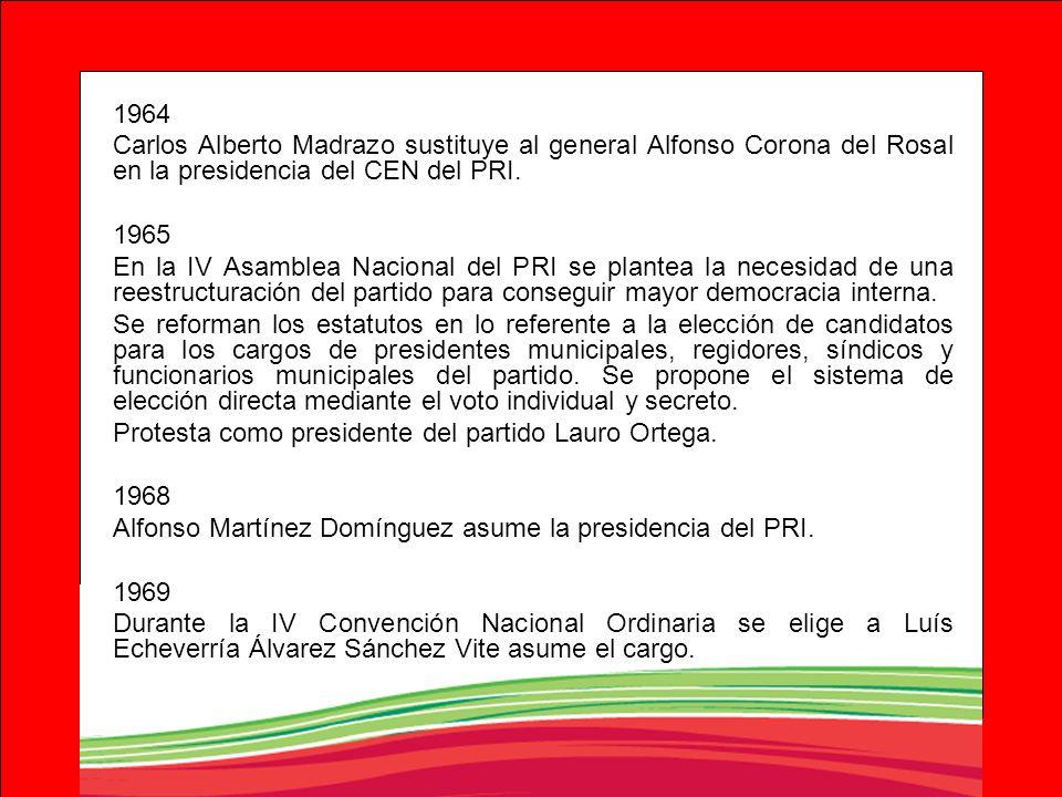 1964Carlos Alberto Madrazo sustituye al general Alfonso Corona del Rosal en la presidencia del CEN del PRI.