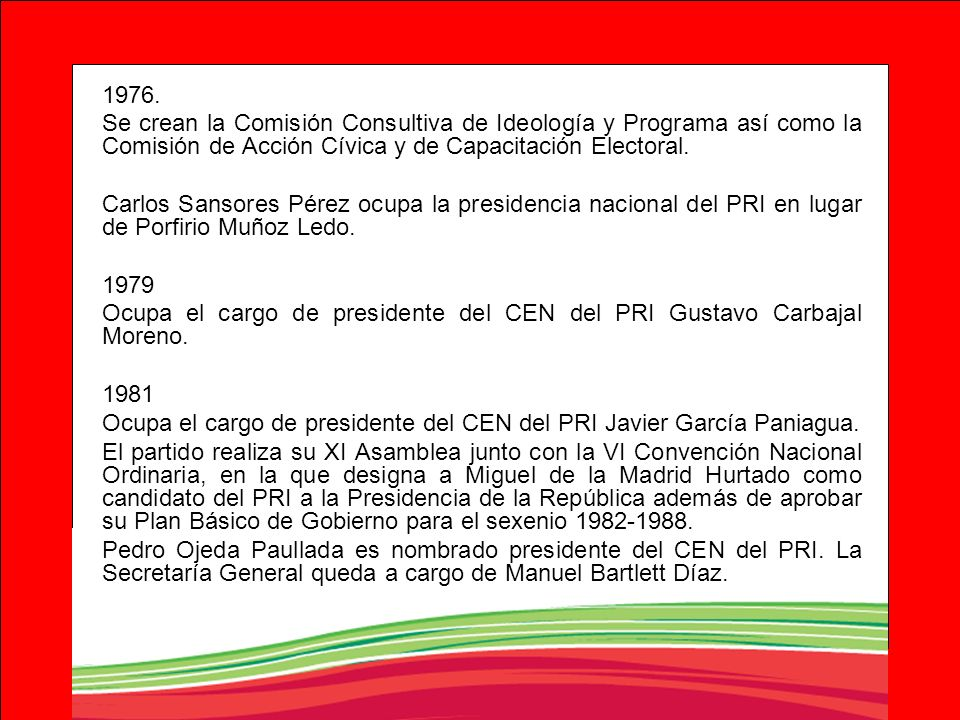 1976.Se crean la Comisión Consultiva de Ideología y Programa así como la Comisión de Acción Cívica y de Capacitación Electoral.