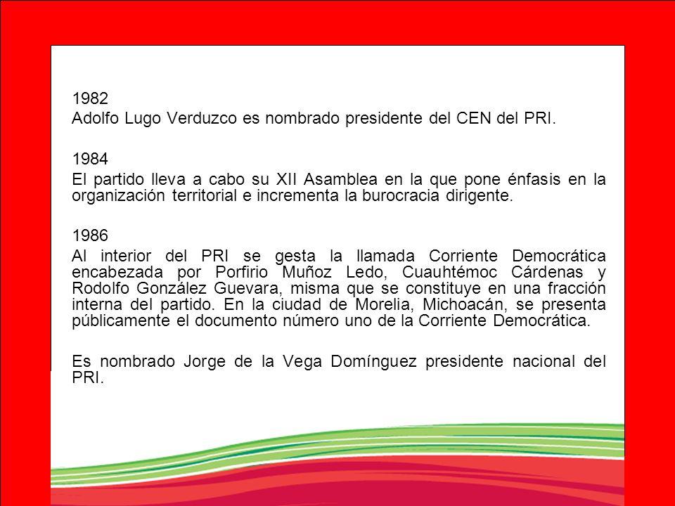 1982 Adolfo Lugo Verduzco es nombrado presidente del CEN del PRI. 1984.