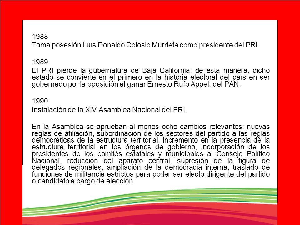 1988Toma posesión Luís Donaldo Colosio Murrieta como presidente del PRI. 1989.