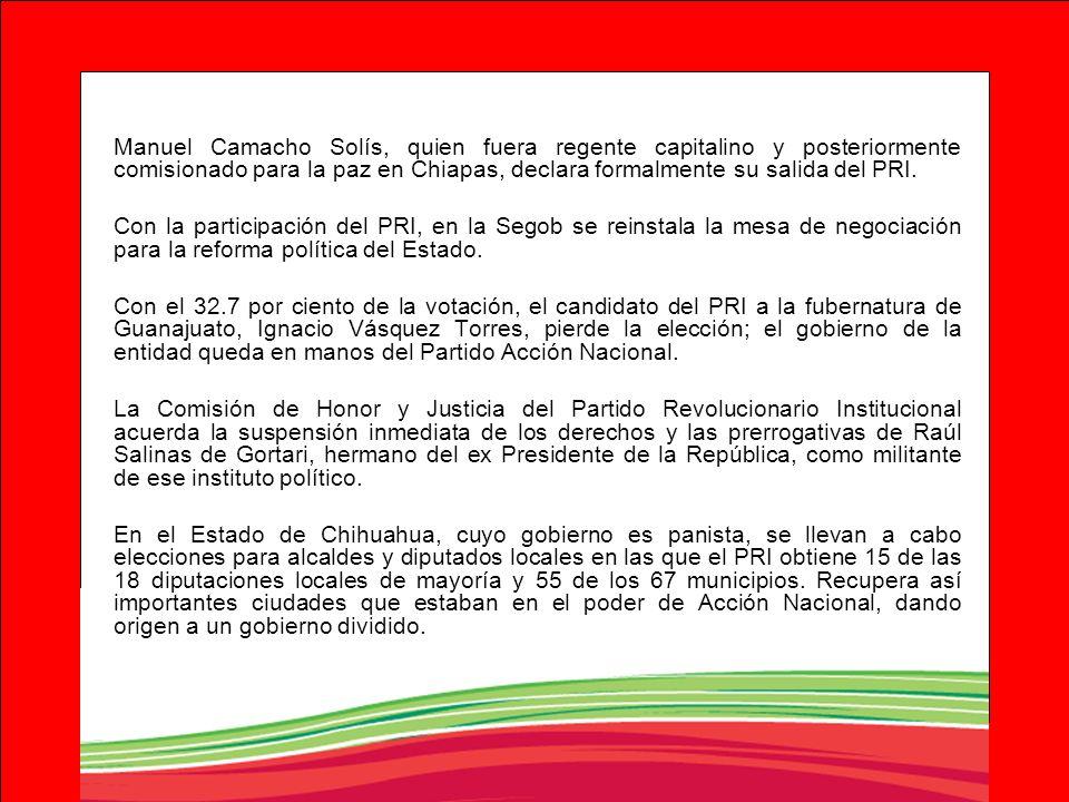 Manuel Camacho Solís, quien fuera regente capitalino y posteriormente comisionado para la paz en Chiapas, declara formalmente su salida del PRI.