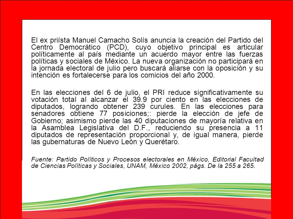 El ex priísta Manuel Camacho Solís anuncia la creación del Partido del Centro Democrático (PCD), cuyo objetivo principal es articular políticamente al país mediante un acuerdo mayor entre las fuerzas políticas y sociales de México. La nueva organización no participará en la jornada electoral de julio pero buscará aliarse con la oposición y su intención es fortalecerse para los comicios del año 2000.
