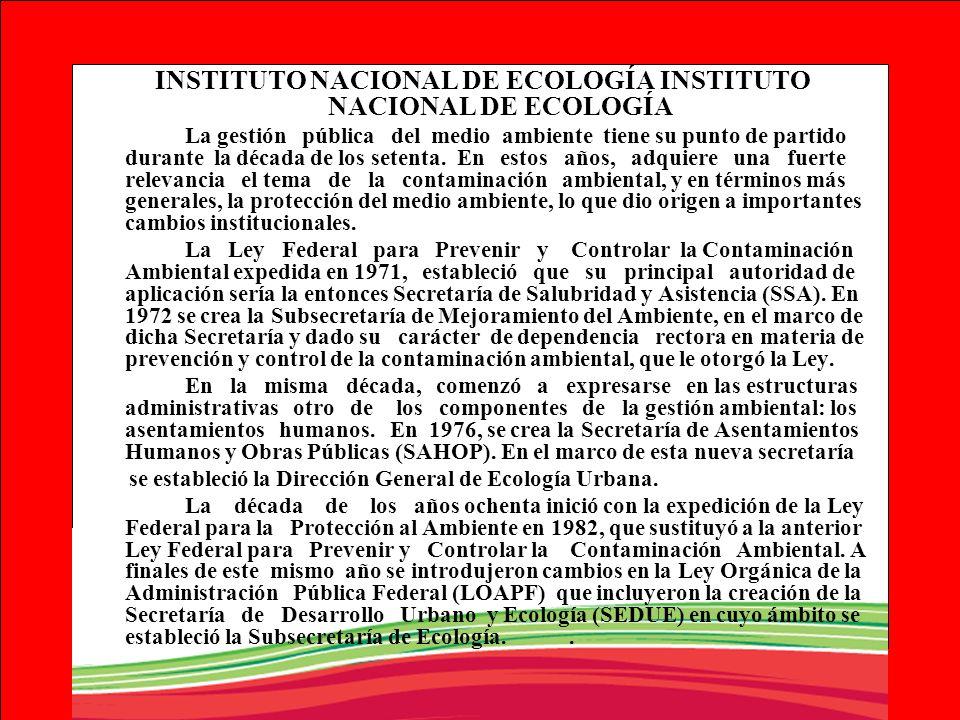INSTITUTO NACIONAL DE ECOLOGÍA INSTITUTO NACIONAL DE ECOLOGÍA
