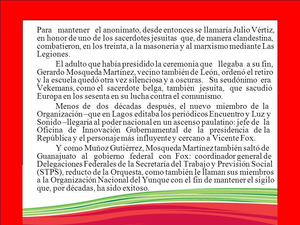 Para mantener el anonimato, desde entonces se llamaría Julio Vértiz, en honor de uno de los sacerdotes jesuitas que, de manera clandestina, combatieron, en los treinta, a la masonería y al marxismo mediante Las Legiones.