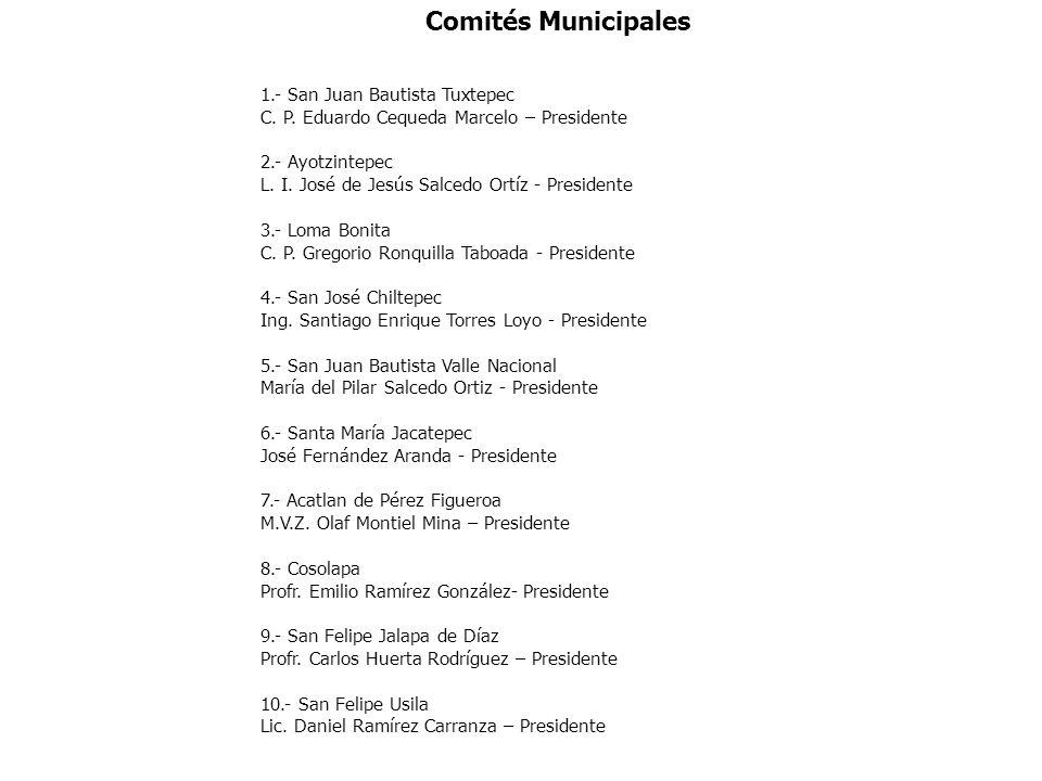 Comités Municipales 1.- San Juan Bautista Tuxtepec