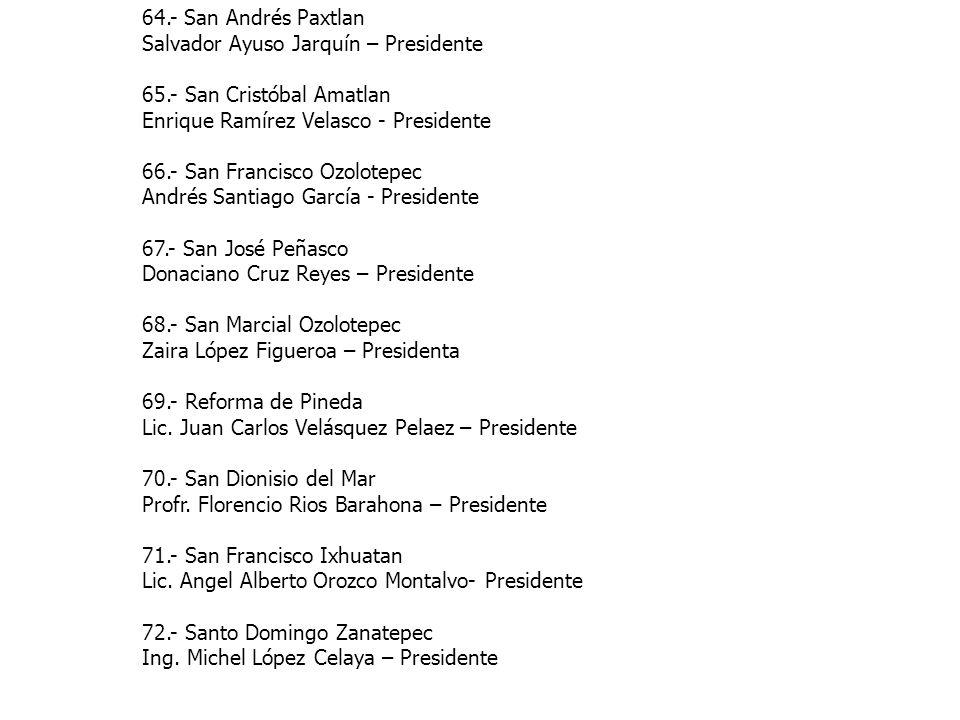 64.- San Andrés Paxtlan Salvador Ayuso Jarquín – Presidente. 65.- San Cristóbal Amatlan. Enrique Ramírez Velasco - Presidente.